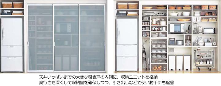 扉付きのキッチン収納
